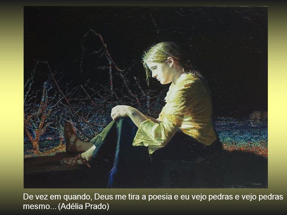 De vez em quando, Deus me tira a poesia e eu vejo pedras e vejo pedras mesmo... (Adélia Prado)
