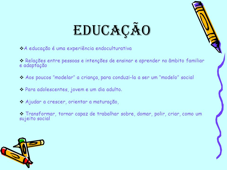 Educação A educação é uma experiência endoculturativa