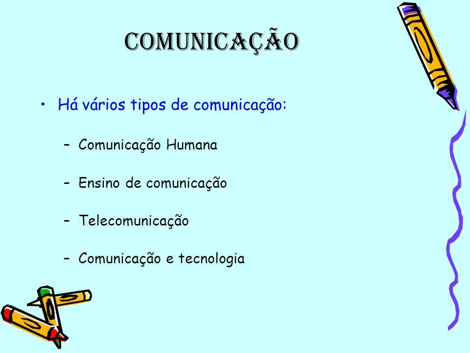 Comunicação Há vários tipos de comunicação: Comunicação Humana