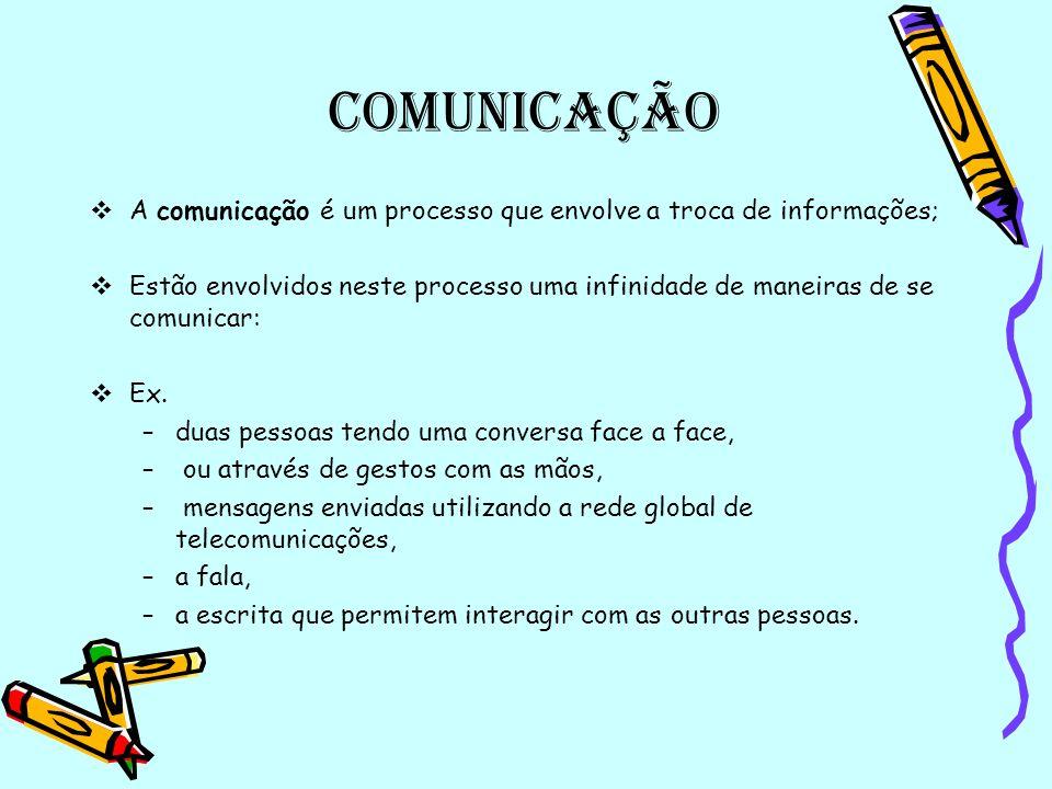Comunicação A comunicação é um processo que envolve a troca de informações;