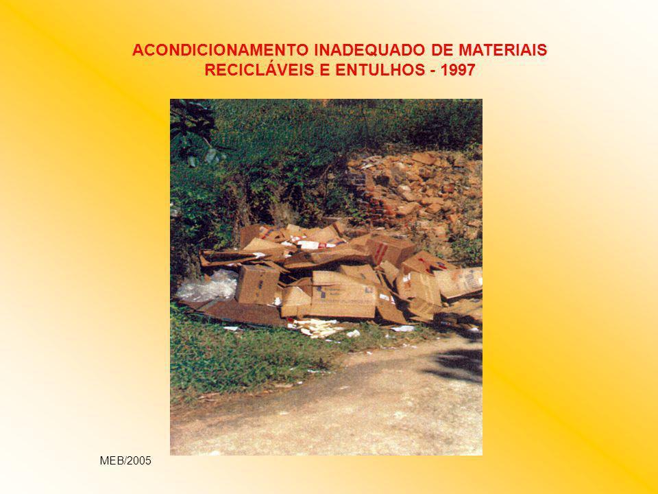 ACONDICIONAMENTO INADEQUADO DE MATERIAIS RECICLÁVEIS E ENTULHOS - 1997