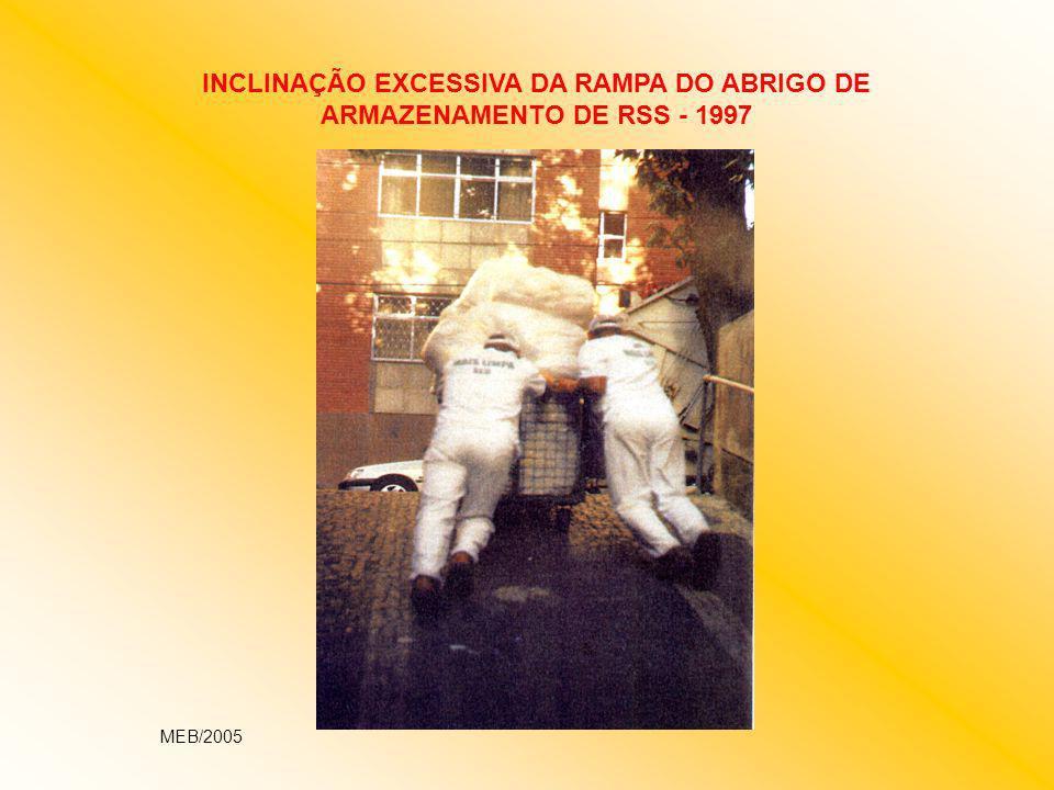 INCLINAÇÃO EXCESSIVA DA RAMPA DO ABRIGO DE ARMAZENAMENTO DE RSS - 1997