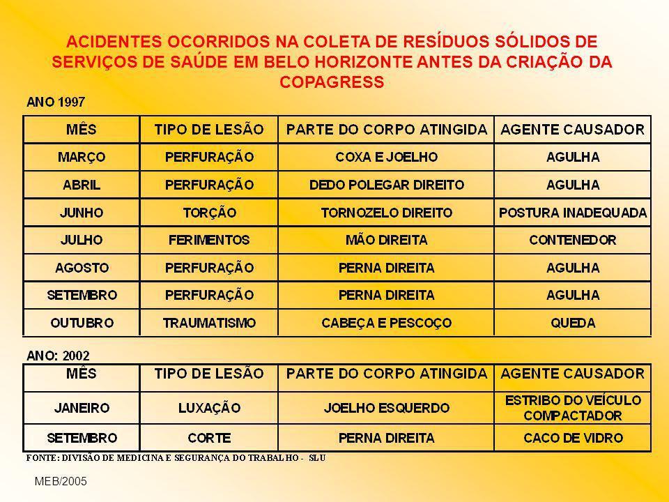 ACIDENTES OCORRIDOS NA COLETA DE RESÍDUOS SÓLIDOS DE SERVIÇOS DE SAÚDE EM BELO HORIZONTE ANTES DA CRIAÇÃO DA COPAGRESS