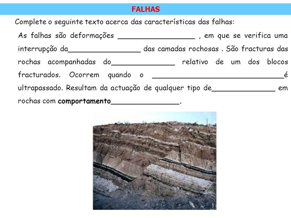 FALHAS Complete o seguinte texto acerca das características das falhas:
