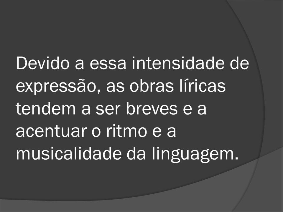 Devido a essa intensidade de expressão, as obras líricas tendem a ser breves e a acentuar o ritmo e a musicalidade da linguagem.