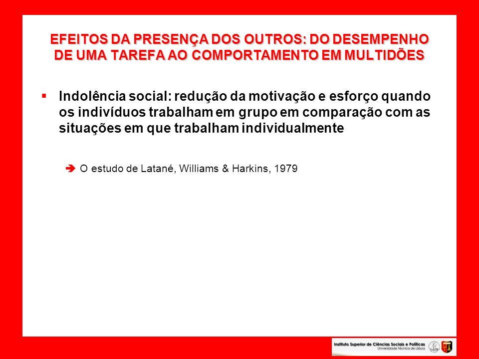 EFEITOS DA PRESENÇA DOS OUTROS: DO DESEMPENHO DE UMA TAREFA AO COMPORTAMENTO EM MULTIDÕES