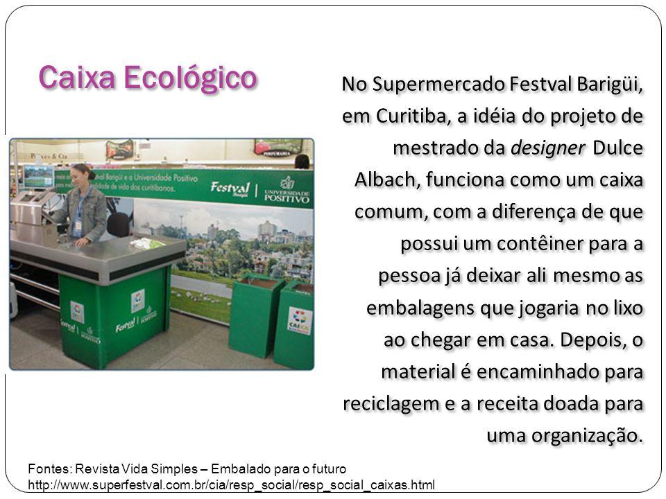 No Supermercado Festval Barigüi, em Curitiba, a idéia do projeto de mestrado da designer Dulce Albach, funciona como um caixa comum, com a diferença de que possui um contêiner para a pessoa já deixar ali mesmo as embalagens que jogaria no lixo ao chegar em casa. Depois, o material é encaminhado para reciclagem e a receita doada para uma organização.