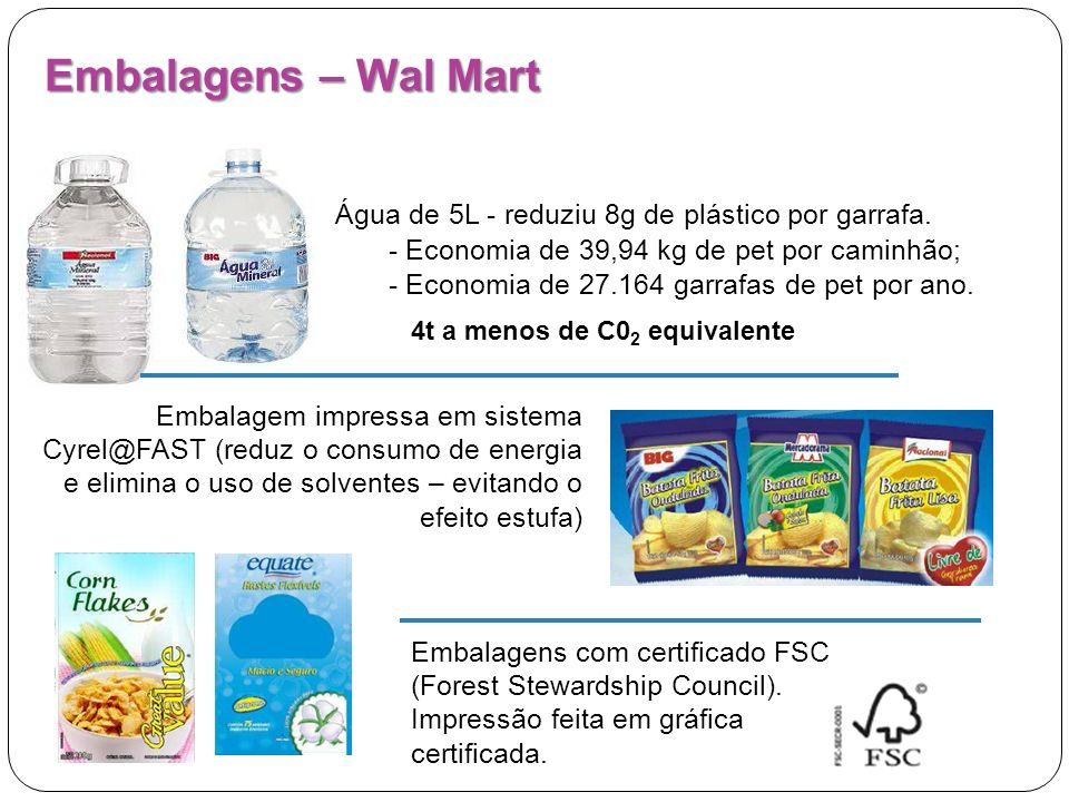 Embalagens – Wal Mart Água de 5L - reduziu 8g de plástico por garrafa.