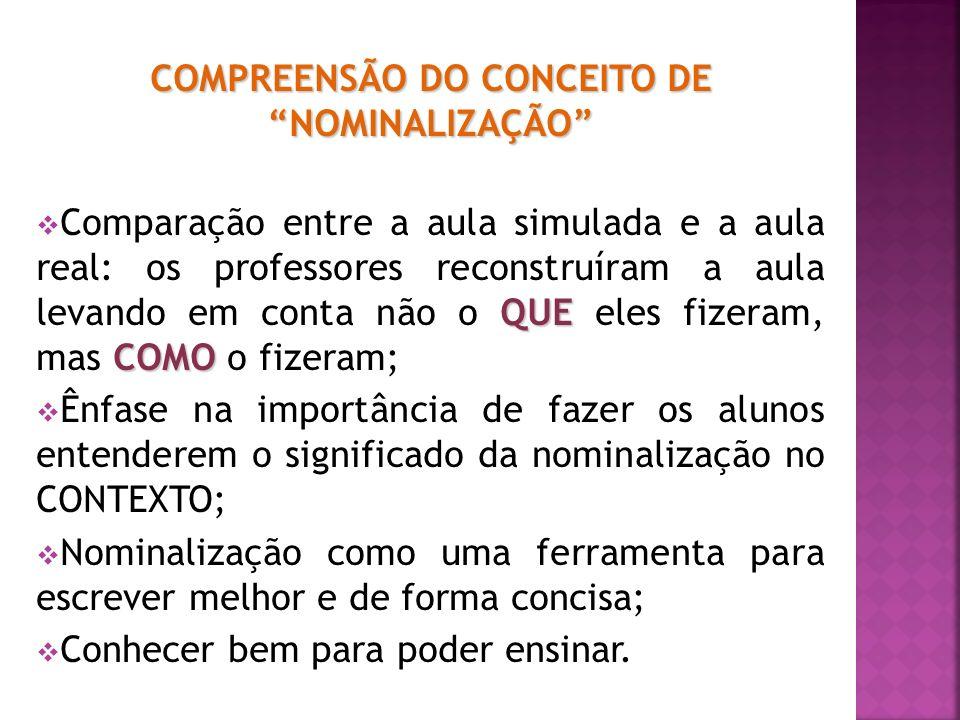 COMPREENSÃO DO CONCEITO DE NOMINALIZAÇÃO