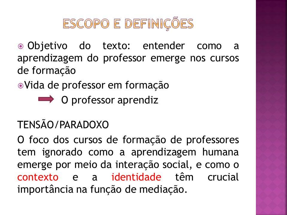 Escopo e definições Objetivo do texto: entender como a aprendizagem do professor emerge nos cursos de formação.