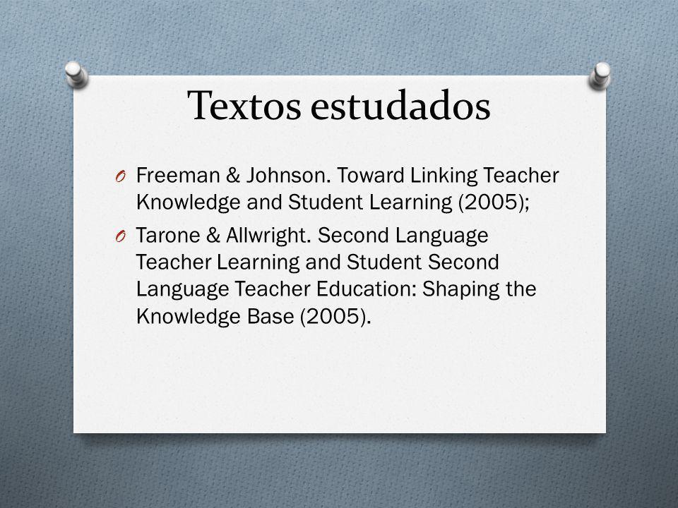 Textos estudados Freeman & Johnson. Toward Linking Teacher Knowledge and Student Learning (2005);