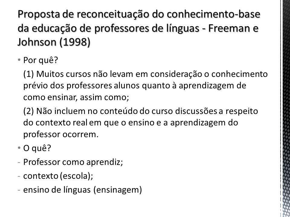Proposta de reconceituação do conhecimento-base da educação de professores de línguas - Freeman e Johnson (1998)