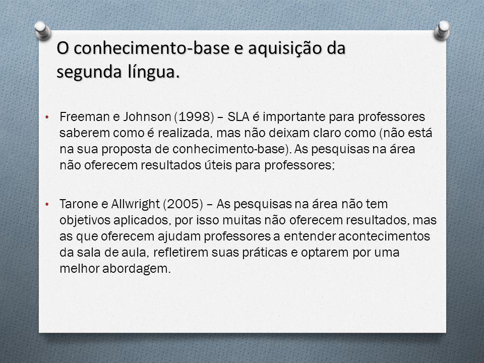 O conhecimento-base e aquisição da segunda língua.