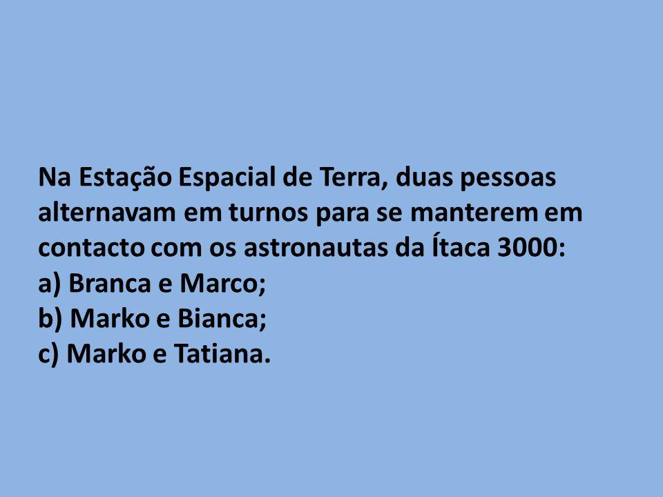 Na Estação Espacial de Terra, duas pessoas alternavam em turnos para se manterem em contacto com os astronautas da Ítaca 3000:
