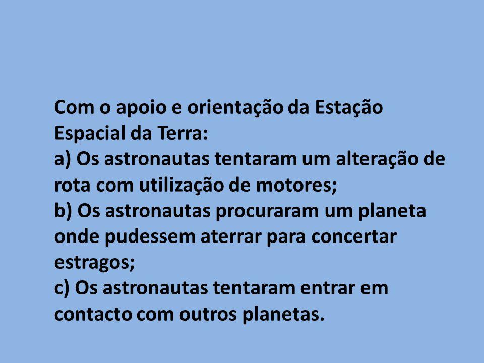 Com o apoio e orientação da Estação Espacial da Terra: