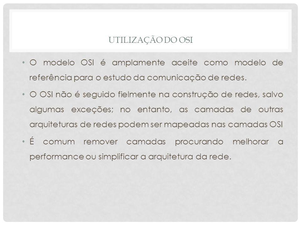 UTILIZAÇÃO DO OSI O modelo OSI é amplamente aceite como modelo de referência para o estudo da comunicação de redes.