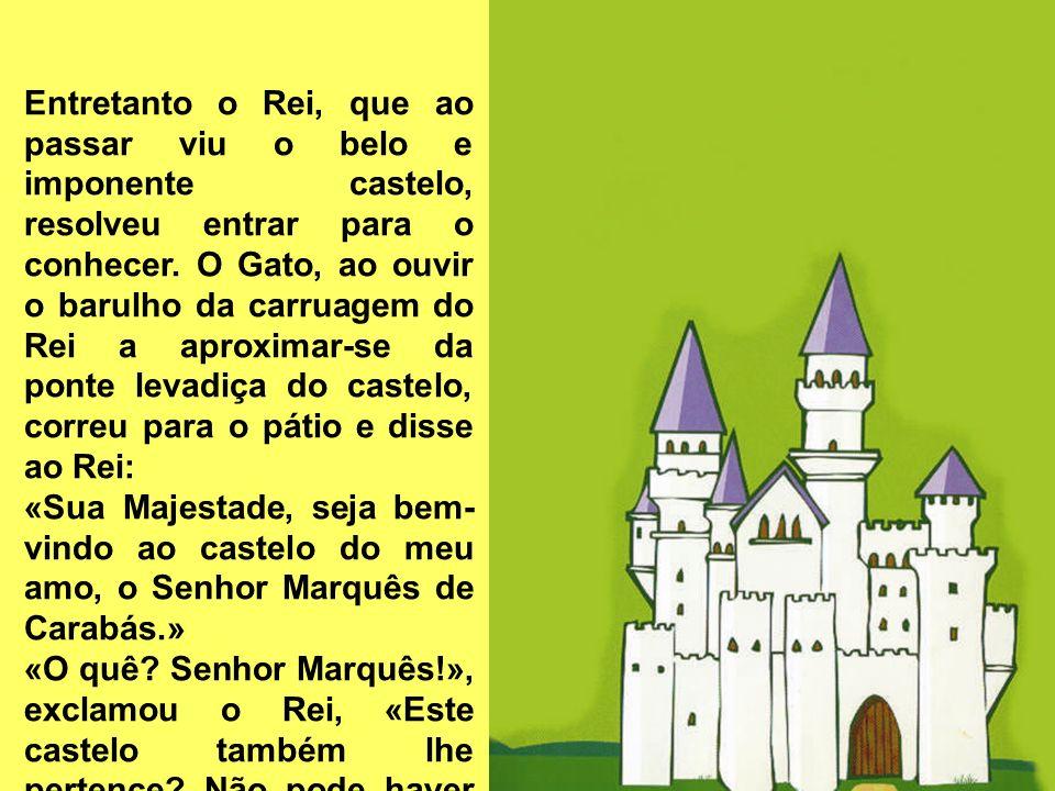 Entretanto o Rei, que ao passar viu o belo e imponente castelo, resolveu entrar para o conhecer. O Gato, ao ouvir o barulho da carruagem do Rei a aproximar-se da ponte levadiça do castelo, correu para o pátio e disse ao Rei: