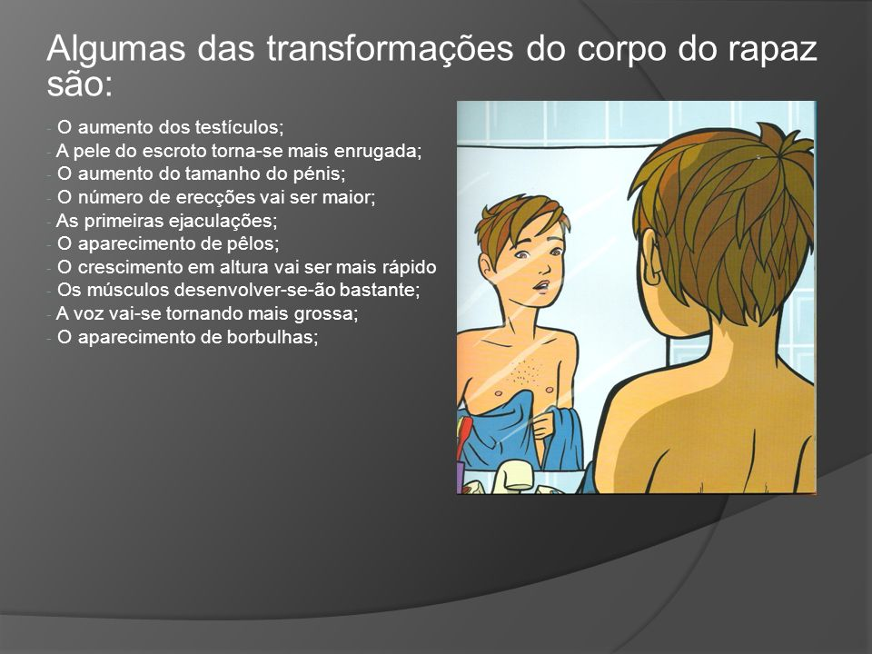 Algumas das transformações do corpo do rapaz são: