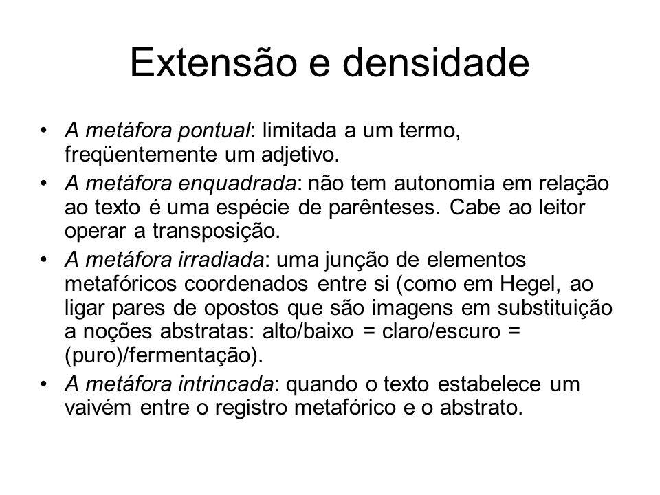 Extensão e densidade A metáfora pontual: limitada a um termo, freqüentemente um adjetivo.
