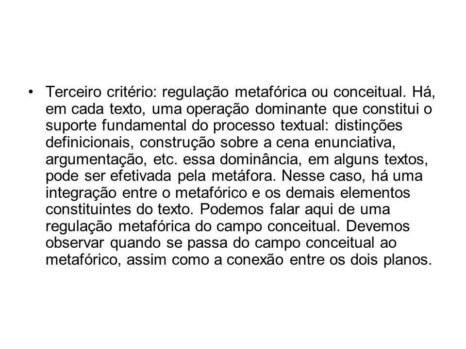 Terceiro critério: regulação metafórica ou conceitual