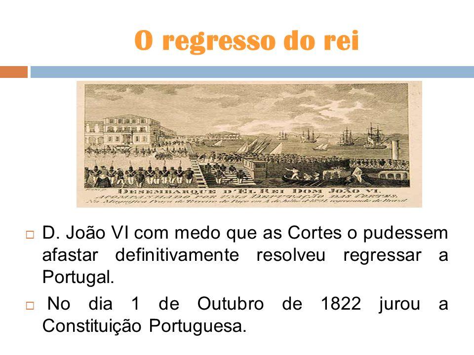 O regresso do reiD. João VI com medo que as Cortes o pudessem afastar definitivamente resolveu regressar a Portugal.