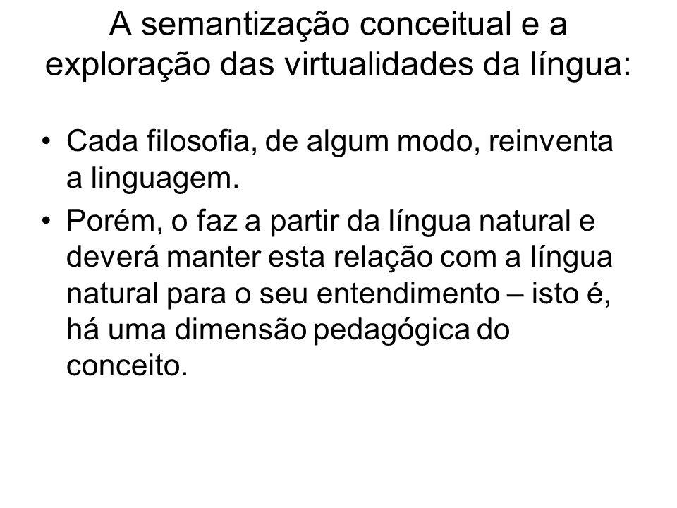 A semantização conceitual e a exploração das virtualidades da língua: