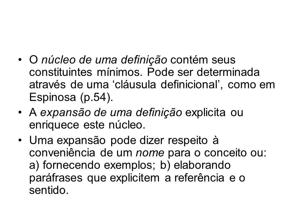 O núcleo de uma definição contém seus constituintes mínimos