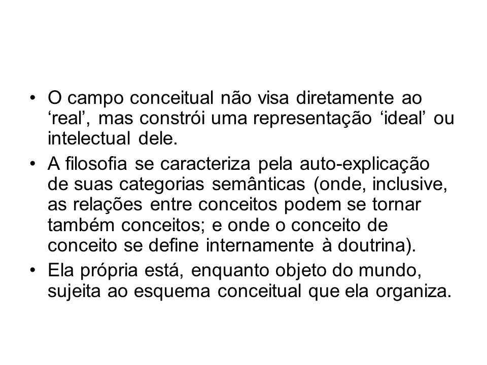 O campo conceitual não visa diretamente ao 'real', mas constrói uma representação 'ideal' ou intelectual dele.