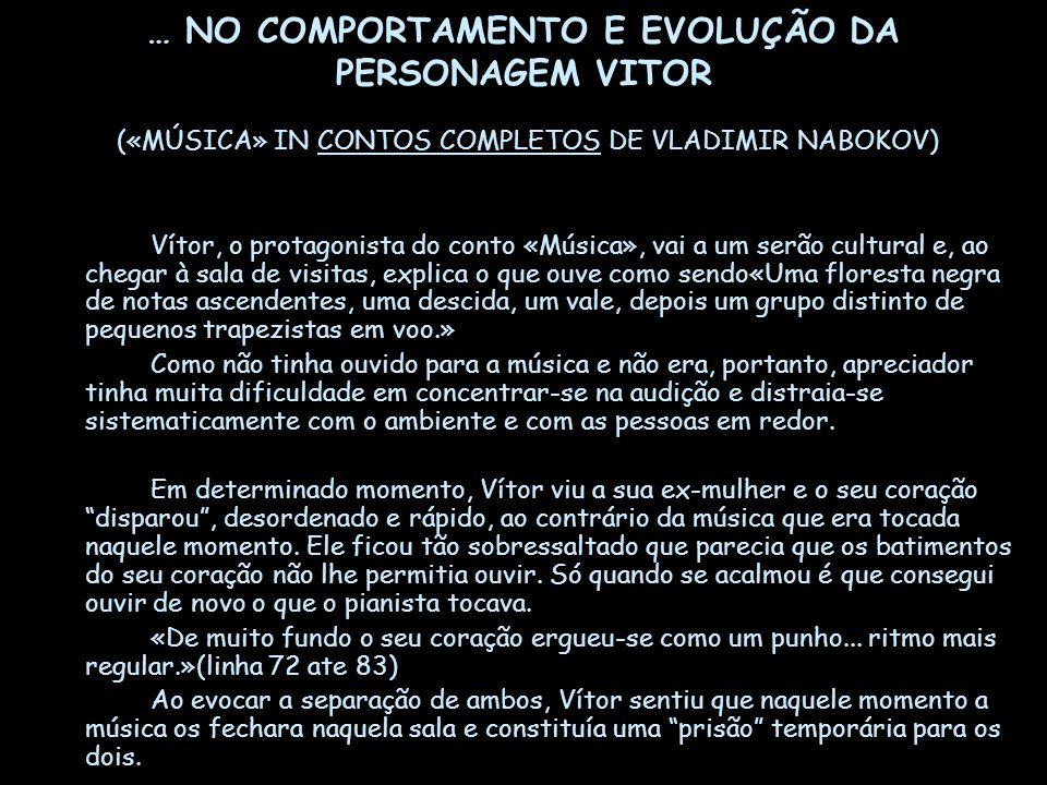 … NO COMPORTAMENTO E EVOLUÇÃO DA PERSONAGEM VITOR («MÚSICA» IN CONTOS COMPLETOS DE VLADIMIR NABOKOV)