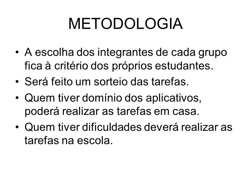 METODOLOGIA A escolha dos integrantes de cada grupo fica à critério dos próprios estudantes. Será feito um sorteio das tarefas.