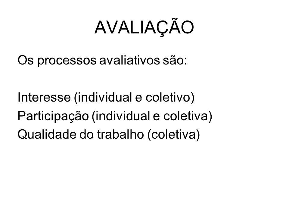 AVALIAÇÃO Os processos avaliativos são: