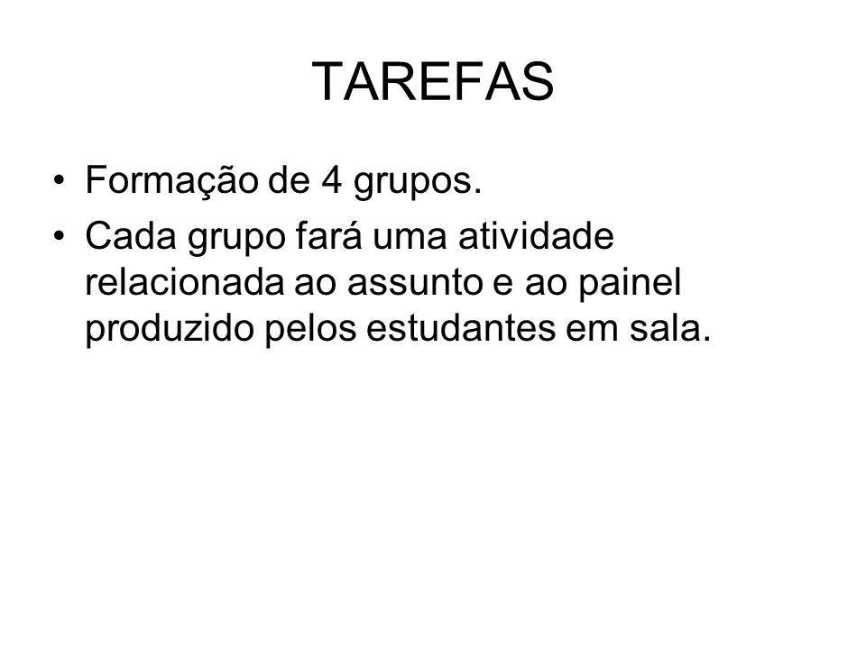 TAREFAS Formação de 4 grupos.