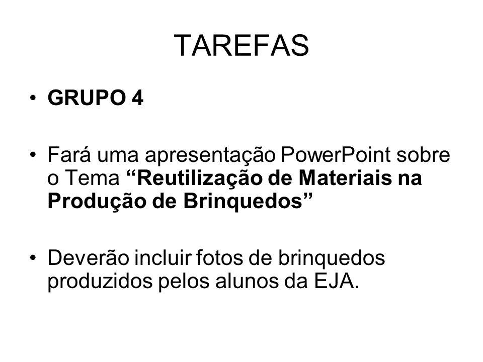 TAREFAS GRUPO 4. Fará uma apresentação PowerPoint sobre o Tema Reutilização de Materiais na Produção de Brinquedos