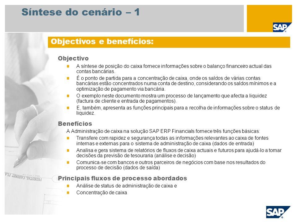 Síntese do cenário – 1 Objectivos e benefícios: Objectivo Benefícios