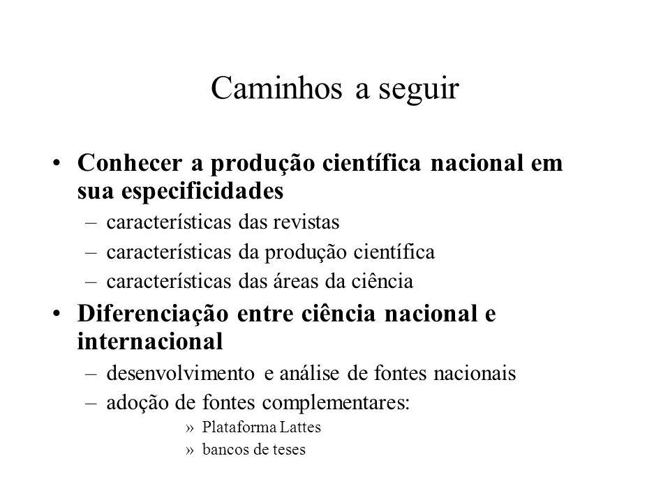 Caminhos a seguir Conhecer a produção científica nacional em sua especificidades. características das revistas.
