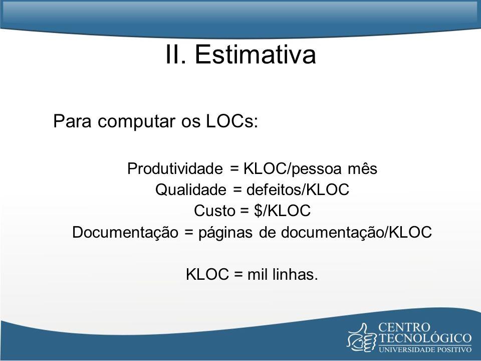 II. Estimativa Para computar os LOCs: Produtividade = KLOC/pessoa mês
