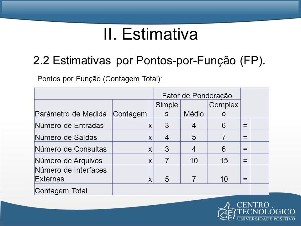II. Estimativa 2.2 Estimativas por Pontos-por-Função (FP).