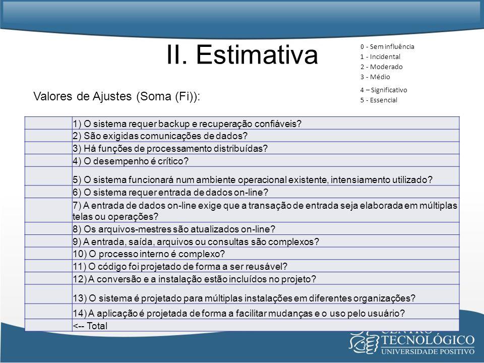 II. Estimativa Valores de Ajustes (Soma (Fi)):