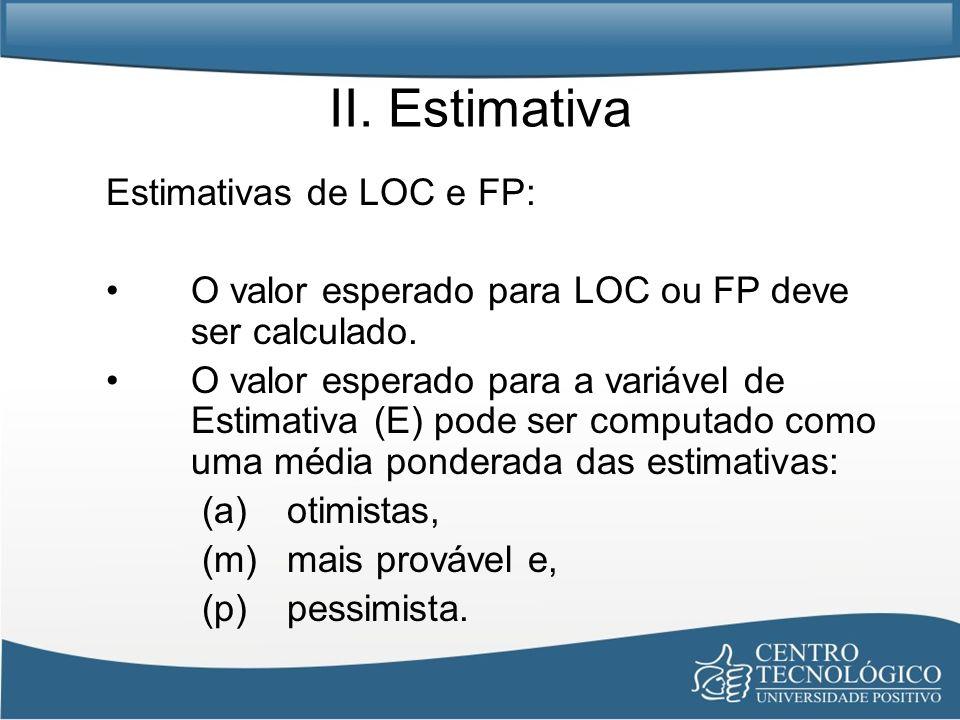 II. Estimativa Estimativas de LOC e FP: