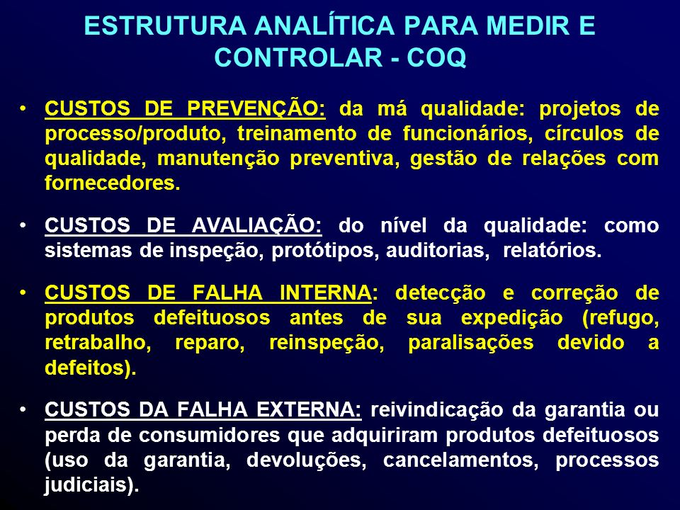 ESTRUTURA ANALÍTICA PARA MEDIR E CONTROLAR - COQ
