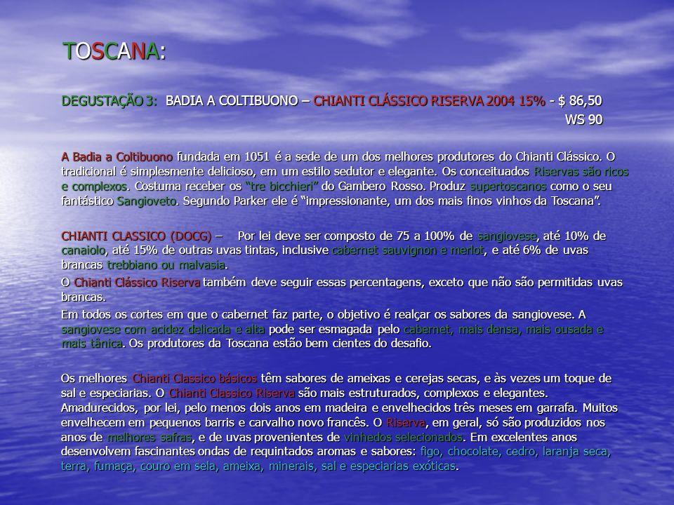 TOSCANA: DEGUSTAÇÃO 3: BADIA A COLTIBUONO – CHIANTI CLÁSSICO RISERVA 2004 15% - $ 86,50. WS 90.