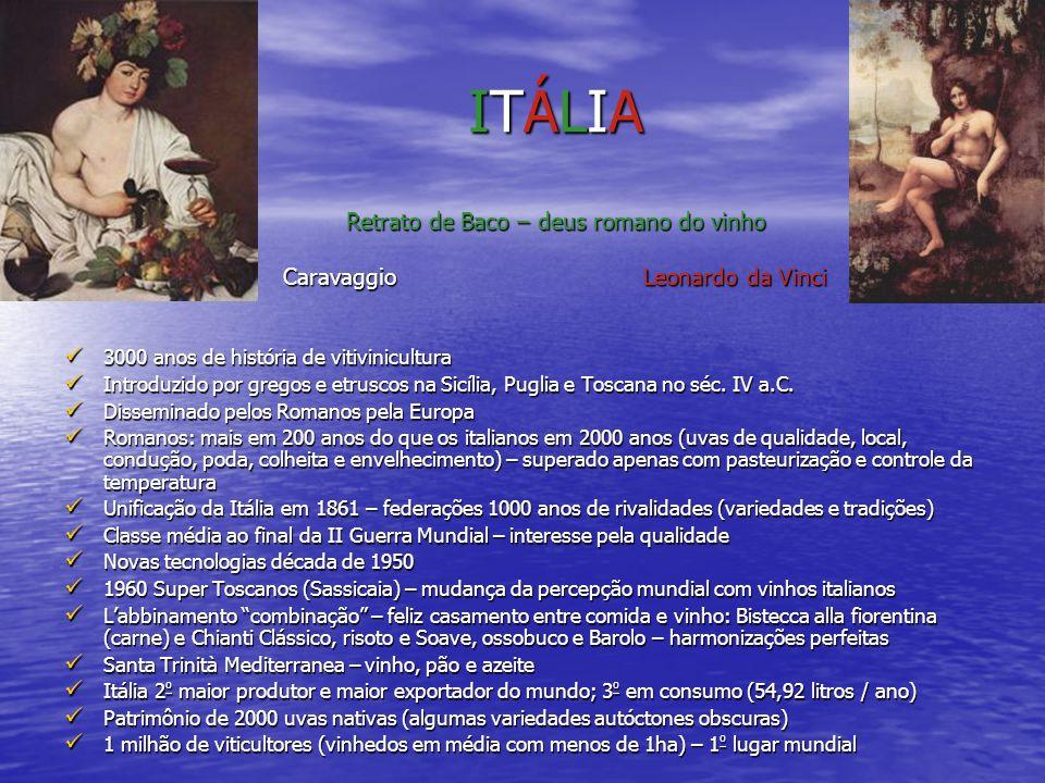 ITÁLIA Retrato de Baco – deus romano do vinho Caravaggio Leonardo da Vinci