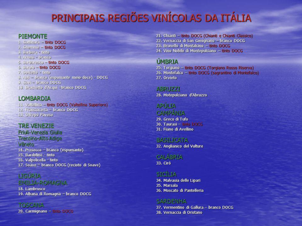 PRINCIPAIS REGIÕES VINÍCOLAS DA ITÁLIA