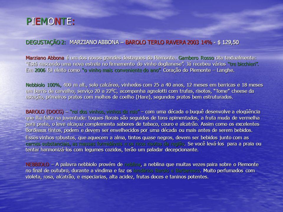 PIEMONTE: DEGUSTAÇÃO 2: MARZIANO ABBONA – BAROLO TERLO RAVERA 2003 14% - $ 129,50.