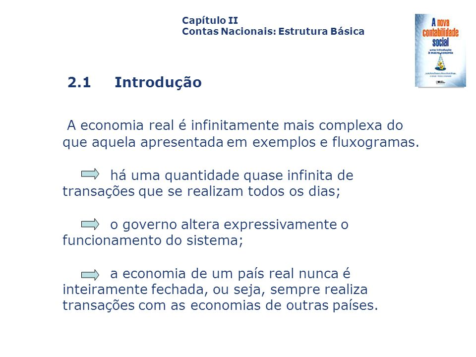 Capítulo II Contas Nacionais: Estrutura Básica. Capa. da Obra. 2.1 Introdução.