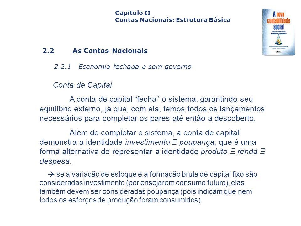 Capítulo II Contas Nacionais: Estrutura Básica. Capa. da Obra. 2.2 As Contas Nacionais. 2.2.1 Economia fechada e sem governo.