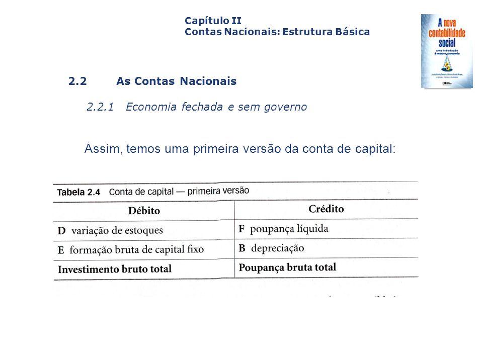 Assim, temos uma primeira versão da conta de capital: