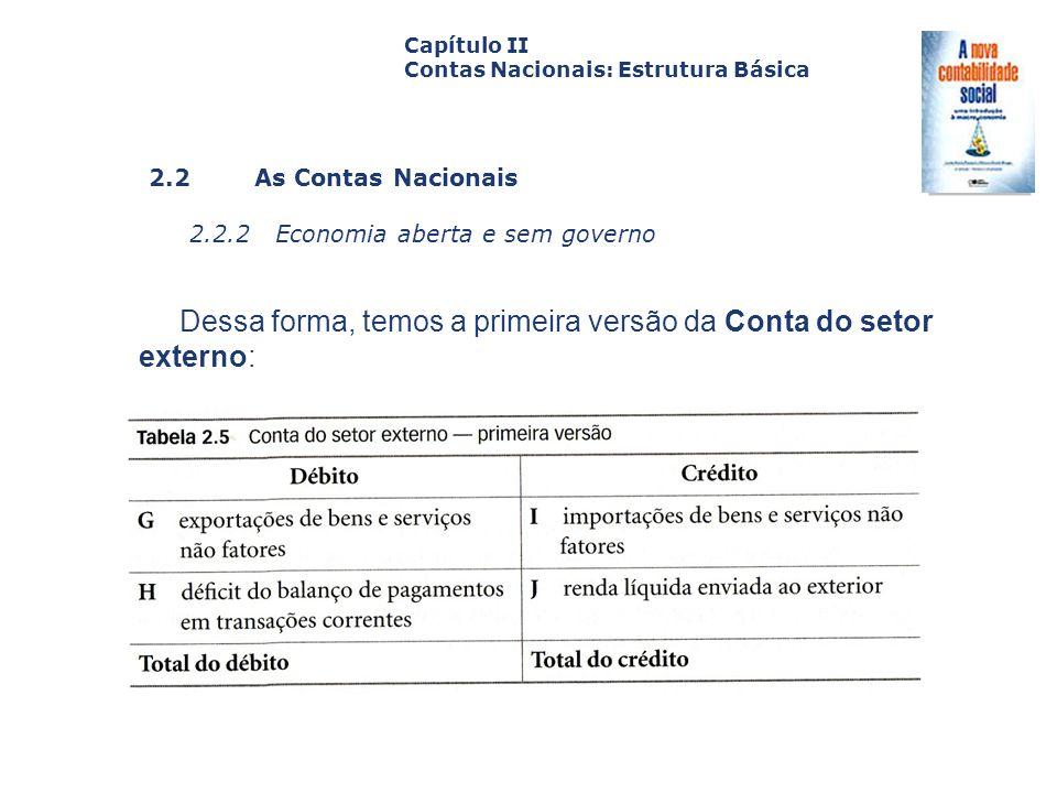 Dessa forma, temos a primeira versão da Conta do setor externo: