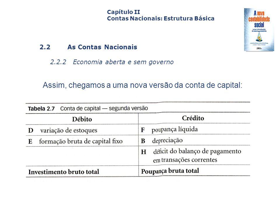 Assim, chegamos a uma nova versão da conta de capital: