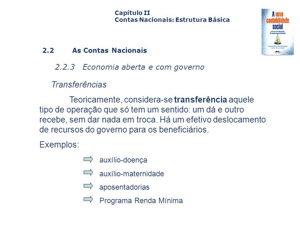 Capítulo II Contas Nacionais: Estrutura Básica. Capa. da Obra. 2.2 As Contas Nacionais. 2.2.3 Economia aberta e com governo.